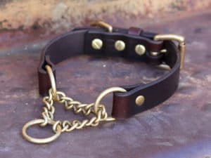 Chain Martingale Leather Dog Collar
