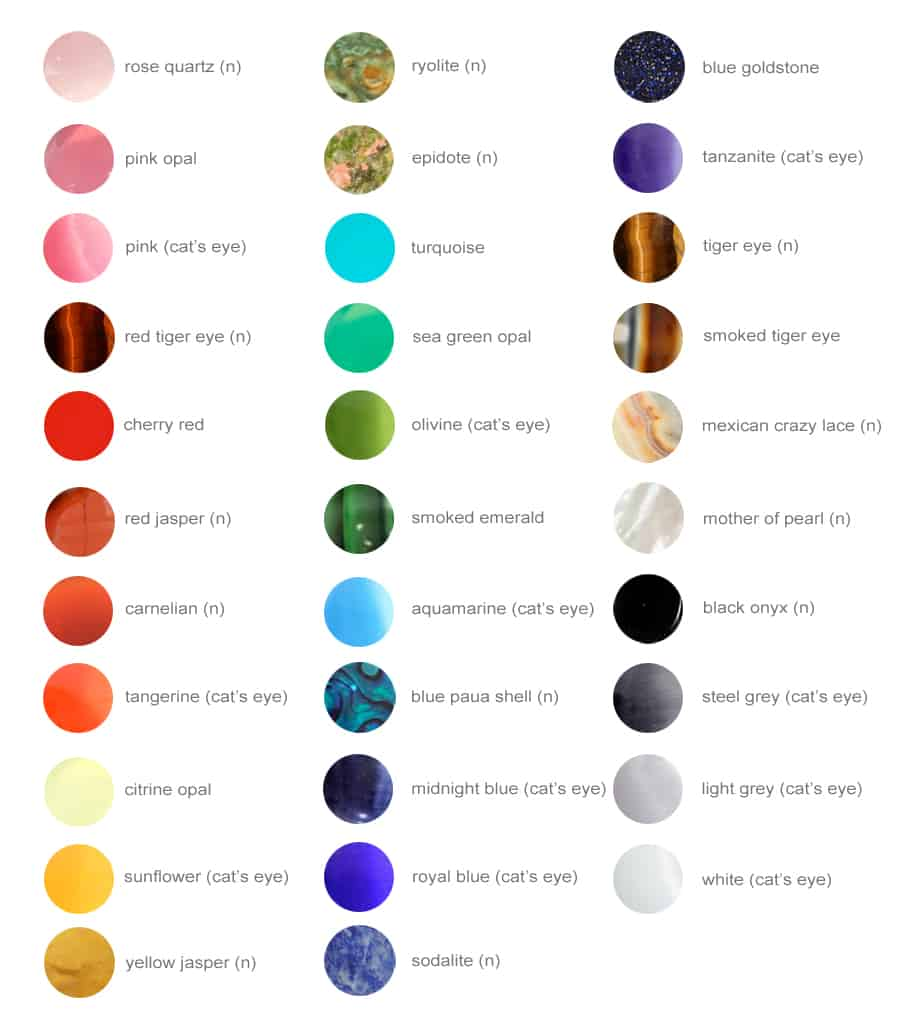 Gemstone Color Chart – CALIFORNIA COLLAR CO.