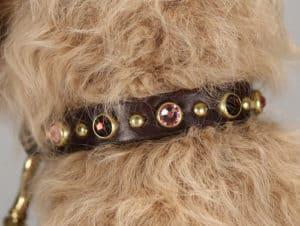 toy swarovski leather dog collar 001