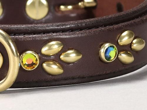 isabella jeweled leather dog collar