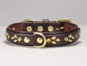 isabella jeweled leather dog collar