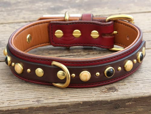"Custom leather dog collar 1.25"" wide"