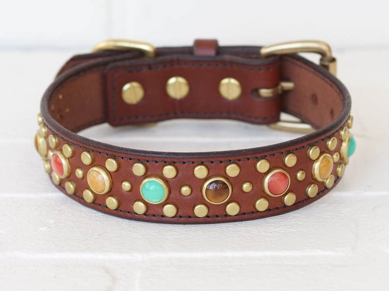 125 nashville gemstone leather dog collar