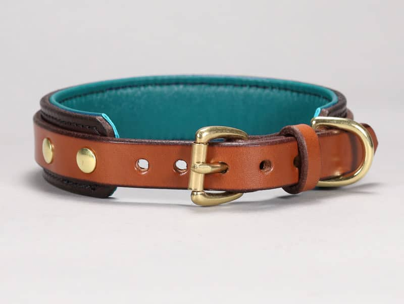 custom slim buckle leather dog collar
