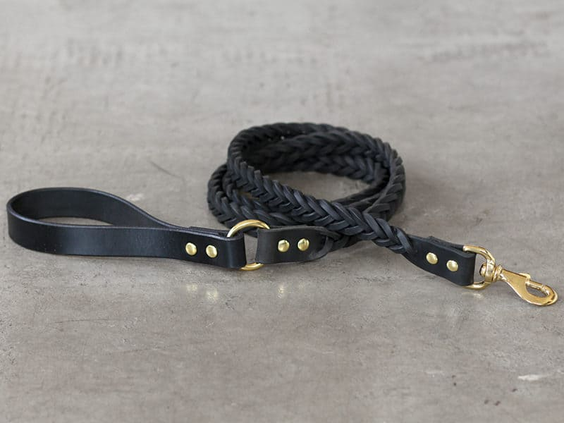 Leather braided leash with brass hardware