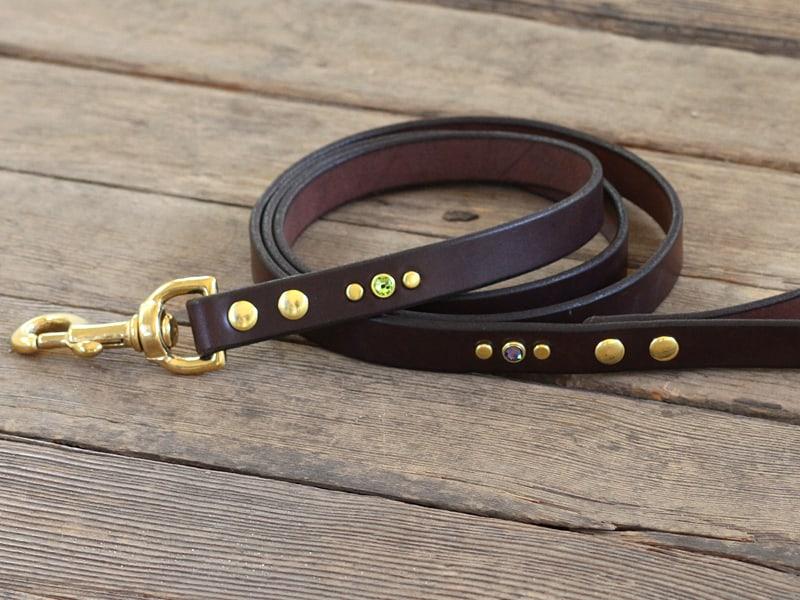 artemis jeweled leather leash