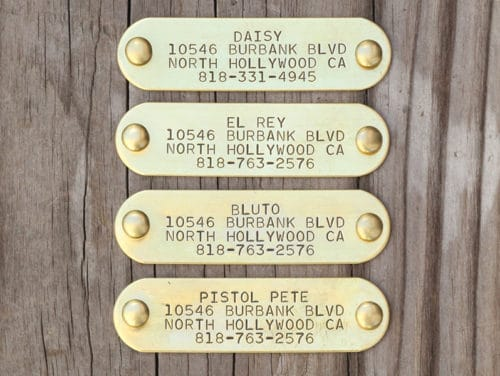 Solid brass, stamped nameplate with rivets