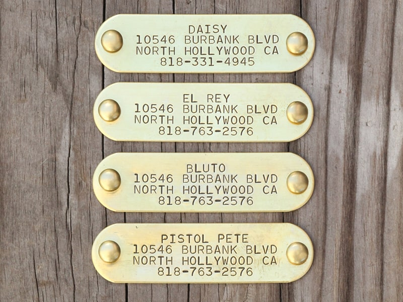 stamped brass nameplate