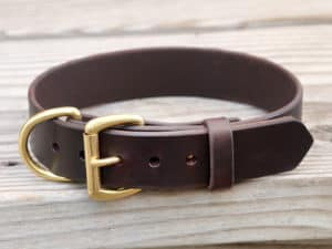 15 reverse ring leather dog collar