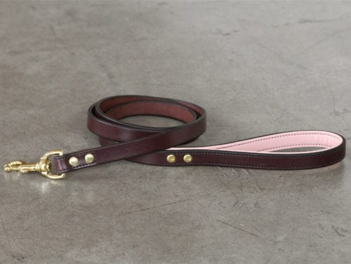 Strong leather leash with pink lining