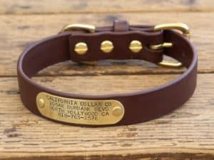 vegan nameplate collar brown